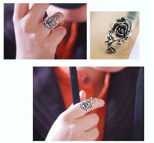Retro Rose Open Rings for Women Lover Best Gift Dress Classical Thai Silver Rings