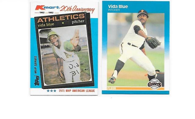 2 Vida Blue Cards 1 1982 Topps Kmart 20th Ann Tophatter