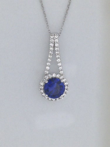 Created Sapphire with White Topaz Pendant 925 Sterling Silver