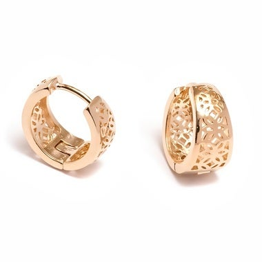18K Gold Plated Flower Cutout Hoop Earrings