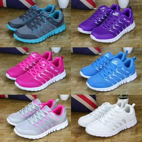 NEW LADIES RUNNING TRAINERS WOMENS FITNESS GYM SPORTS COMFY LACE UP SHOES SIZE