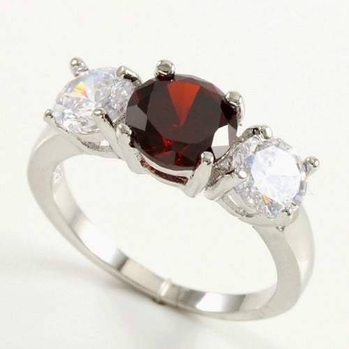 AAA+ Grade Fine Red and White Cubic Zirconia, 14k White Gold Filled 2.50ctw Beautifully Created Ruby and White Sapphire Ring