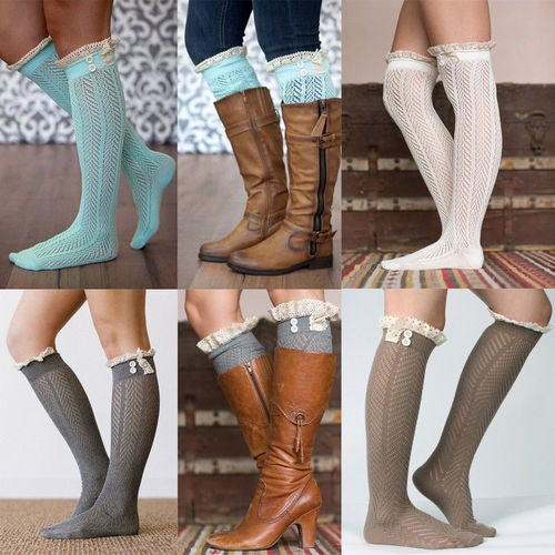 Black Friday Gifts 1Pair Women Girls Winter Warm Thigh High Over Knees Stockings Long Tights Socks