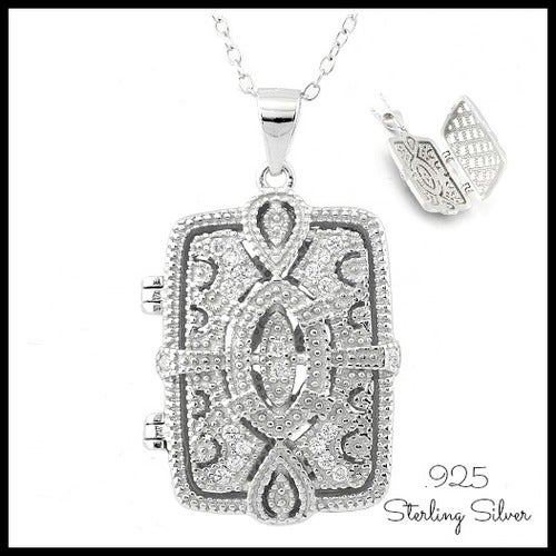 Solid .925 Sterling Silver w/18k White Gold 0.2ct Genuine White Sapphire Locket Necklace Glamlil107
