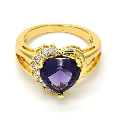 Plum it up Amethyst Gem Heart With Halo Cut Stones in 14K GOLD Filled Size 8