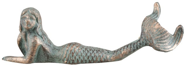 Mermaid Reclining Verdi Green Tabletop Figurine Cast Iron