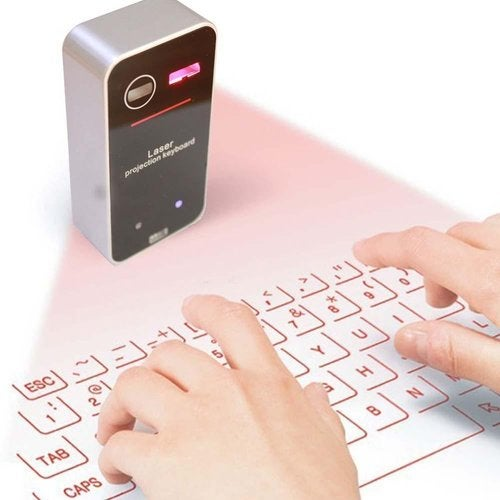 New Laser Projection Virtual Keyboard with Wireless Bluetooth for IOS Apple Mac Ipad Iphone Android Cell Phone Tablet Pc(Silver)
