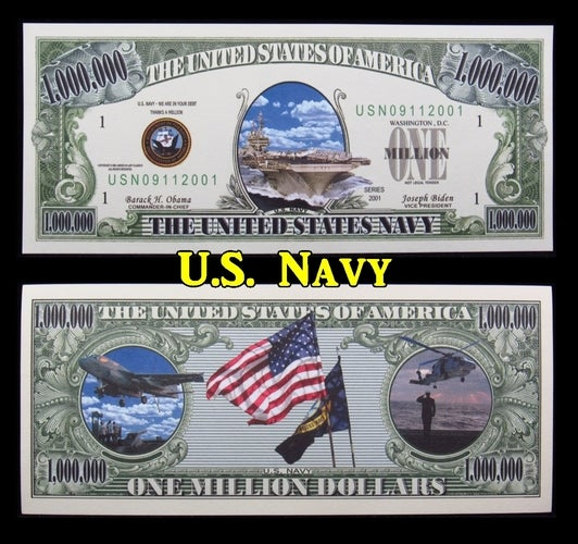 ~NEW~ $1 Million Dollar Collectible Note **Navy**-  Great gift idea!!!!