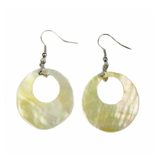Mother of Pearl Rhodium Plated Dangle Hook Earrings