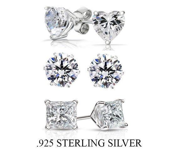 Amazing Sterling Silver 3 Pack Cz Stud Earrings Get All 3 . Amazing Value
