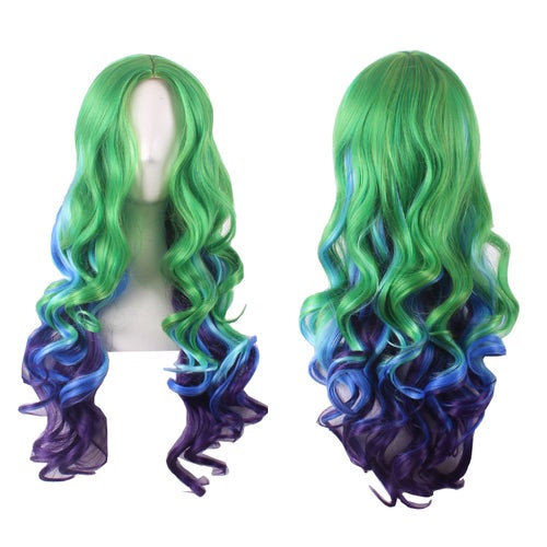 European and American fashion female wig, cosplay gradient long hair parted wig repair face