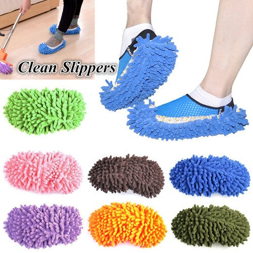 1 Pair Multifunctional Chenille Micro Fiber Shoe Covers Clean Slippers Lazy Drag Shoe Mop Caps Household Tools