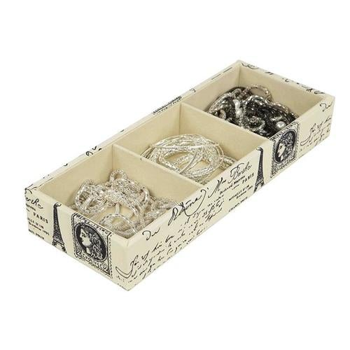 Home Basics DR49481 3 Compartment Jewelry Organizer, Ivory