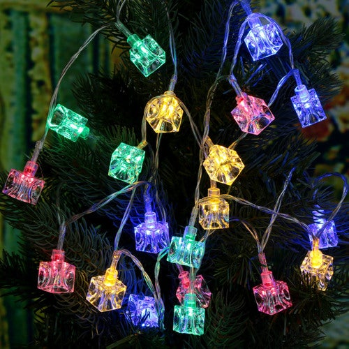 2.1M 20 LED Multi Color Ice Block Lamp Fairy String Light for Party Wedding Christmas Home Room Outdoor Decoration