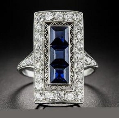 Vintage Inspired Princess Ring Blue Accents By Diannes Designs