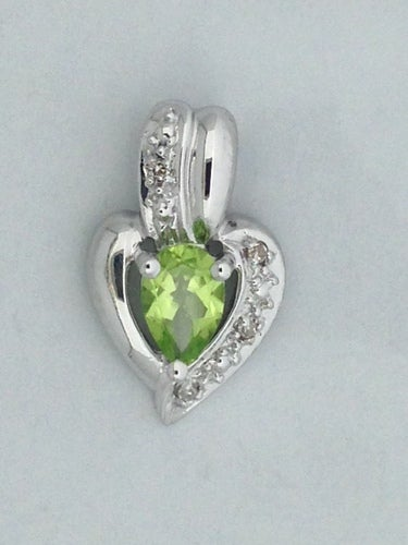 Natural Peridot with Natural Diamond Pendant 925 Sterling Silver