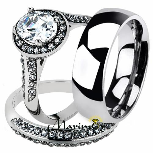 His & Her 3pc Stainless Steel 2.60 Ct Cz Bridal Set & Men's Classic Wedding Band