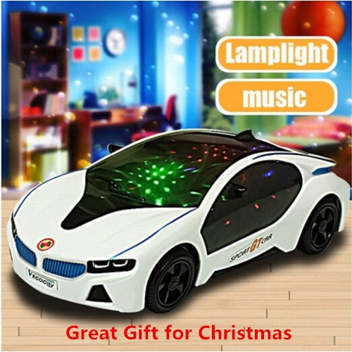 Great Gift for Christmas 3D LED Flashing Light Car Toys Music Sound Electric Toy Cars Kids Children Christmas Gift