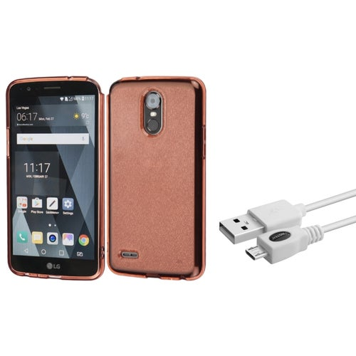 Insten Transparent Sheer Glitter Premium TPU Candy Skin Case For LG Stylo 3 / Stylo 3 Plus - Rose Gold (Bundle with Micro USB Cable)
