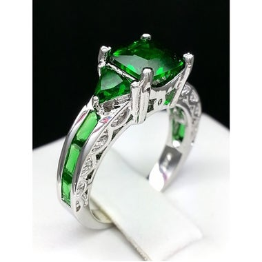Platinum Plated Brilliant Green Princess Cut Ring