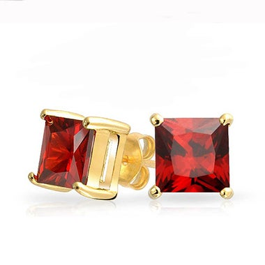 Gold Genuine Ruby Studs Butterfly Backs Basket Setting Ruby Stud Earrings