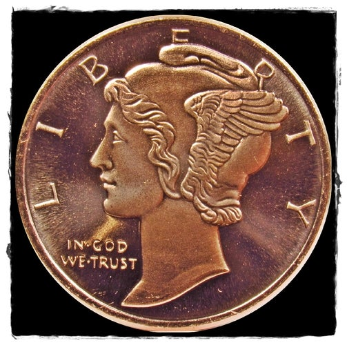 *Uncirculated* 1 oz .999 Fine Copper Bullion Round - Mercury Dime Design -