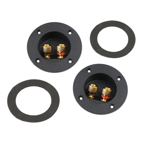 PIXNOR 2pcs DIY Home Car Stereo 2-Way Speaker Box Terminal Binding Post Round Spring Cup Connectors Subwoofer Plugs (Black)