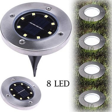 8 LED Solar Power Buried Light Ground Lamp Outdoor Path Way Garden Decking