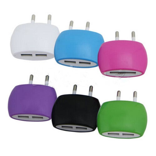 1Pcs EU Plug 2A Home Wall Phone Ports  Charger Adapter for Dual USB AC Power
