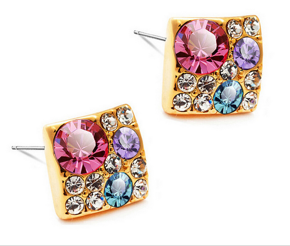 Gold Plated Square Multi Stone Earrings