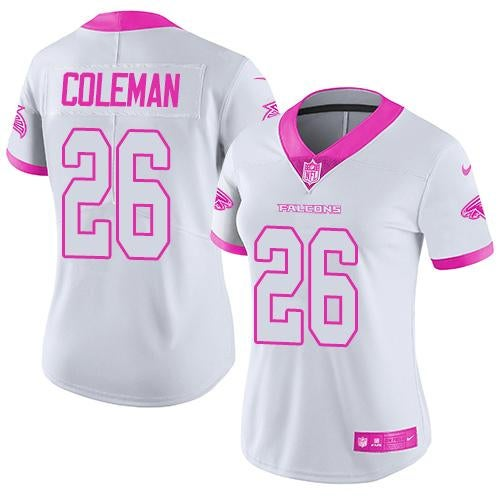 Women Falcons #26 Tevin Coleman White Pink Jersey