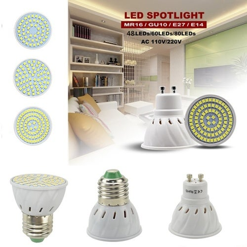 GU10 MR16 E27 E14 LED Bulb Lamp 48LED 60LED 80LED Bulb Spotlight Lamp White/Warm White