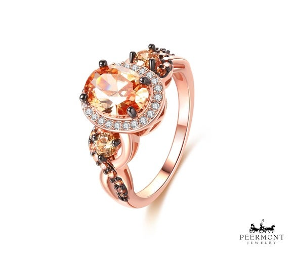 Rose Gold Plated Champagne Cubic Zirconia Statement Ring