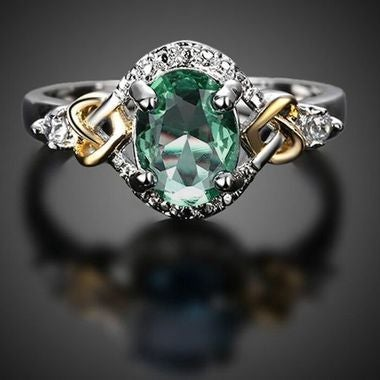 Fashion female youth Green Stone Silver Ring