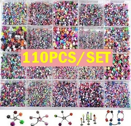 110pcs Belly Button Navel Rings Barbell Tongue Nose Tophatter