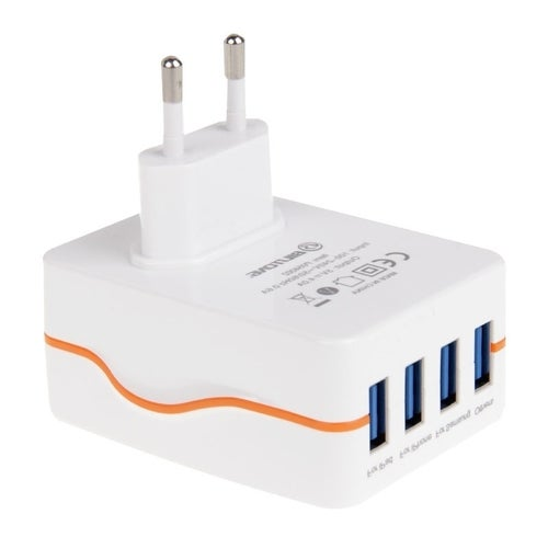 BiLiTong 4-Ports 5V 4A High Compatibility USB Charger Adapter With Light For IPhone 6s & 6s Plus, IPhone 6 & 6 Plus, IPad Air 2 & Air, Samsung Galaxy S6 / S6 Edge / S6 Edge+ / Note 5 Edge, HTC, Sony, EU Plug