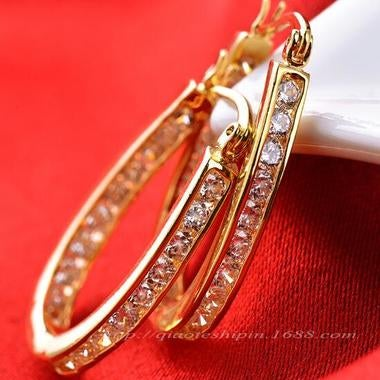 18K Yellow Gold Filled Attractive Womens Ear Hoop Earrings