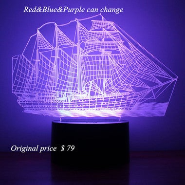 2017 So Nice Colorful 3D lights, sailing 3D vision lights, Cool Steamship 3D LED