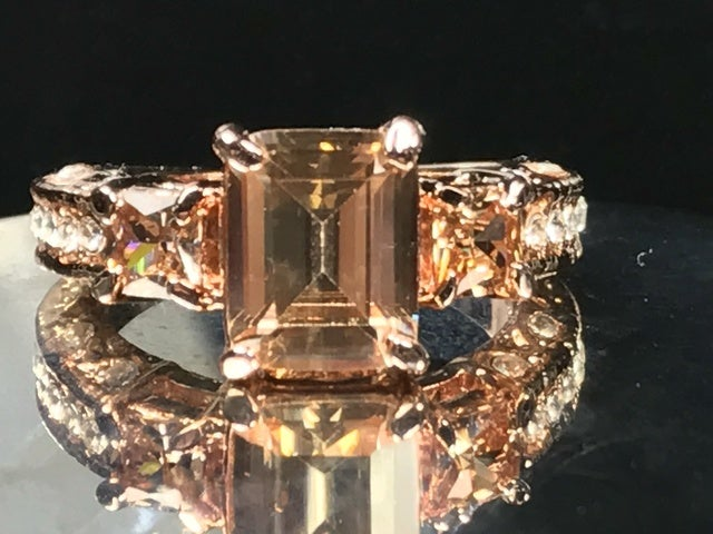 CZ on Rose Gold Ring. Size 7, 8 or 9.