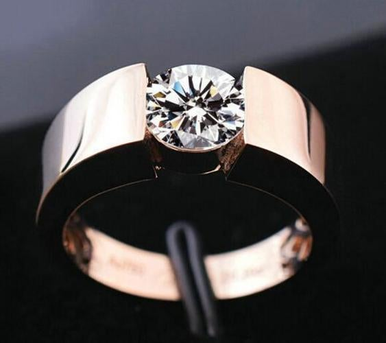 Man's Rose Gold & Silver Colored Stainless Steel Metal Zircon Couple Wedding Ring
