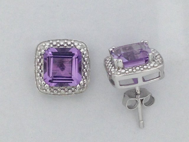 Natural Amethyst with Natural Diamond Stud Earrings 925 Sterling Silver