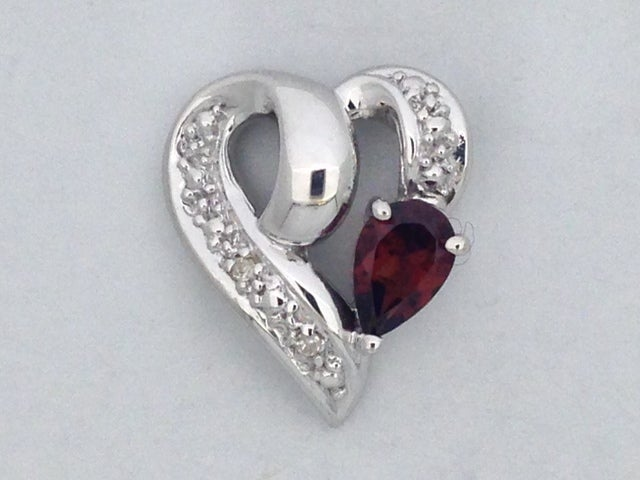 Natural Garnet with Natural Diamond Heart Pendant 925 Sterling Silver