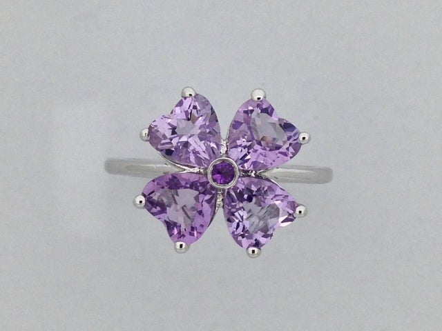 Heart Shape Natural Amethyst Ring 925 Sterling Silver