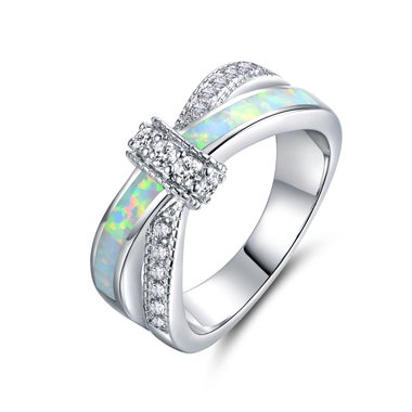 White Gold Plated & Lab Created CZ Crisscross Ring