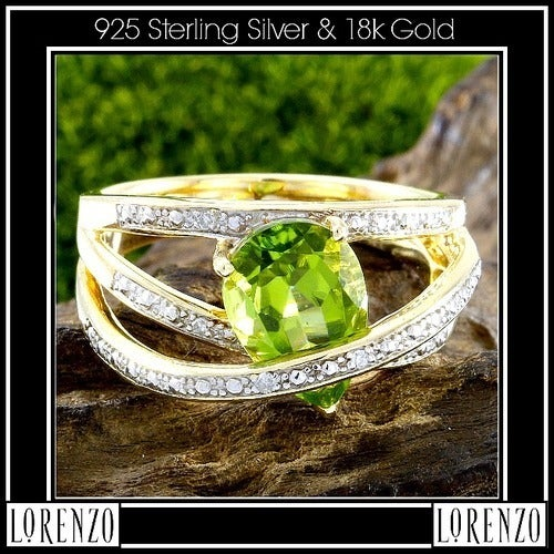 Genuine Diamonds & Peridot, .925 Sterling Silver& 18k Yellow Gold Ring Size:7 Designed by High-End Designer ColoreSG Lorenzo LGlam7046q Glamouresq.com