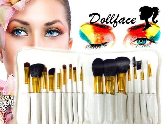 16 piece deluxe white professional brush set & travel wrap by Dollface Cosmetics