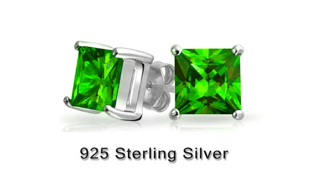 Stunning Emerald Cut Solitaire Lab Created Emerald Stud Earings