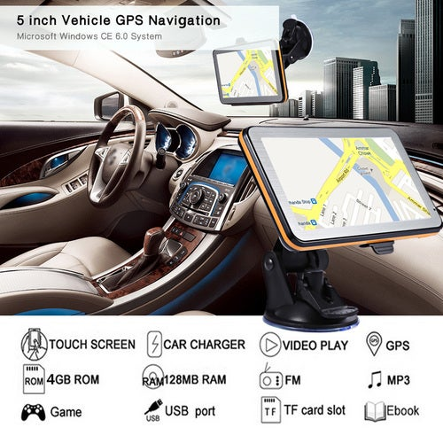 "High Quality 5"" Car GPS Navigation TFT Touch Screen MP3 MP4 Player FM Radio Voice Guidance Multifunction Maps"