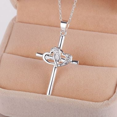 Falling In Love Double Love Heart Shape Cross Pendant Necklace