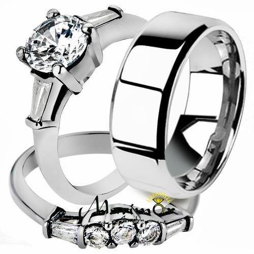 His & Her 3pc Stainless Steel 1.95 Ct Cz Bridal Ring Set & Men Beveled Edge Band